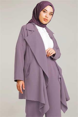 Dökümlü Ceket Takım Lila - Thumbnail