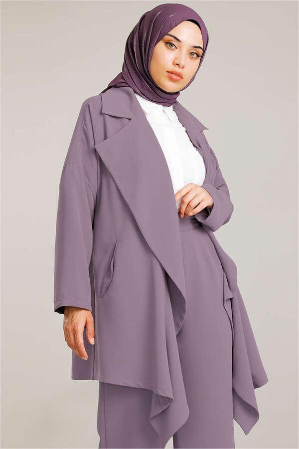Dökümlü Ceket Takım Lila