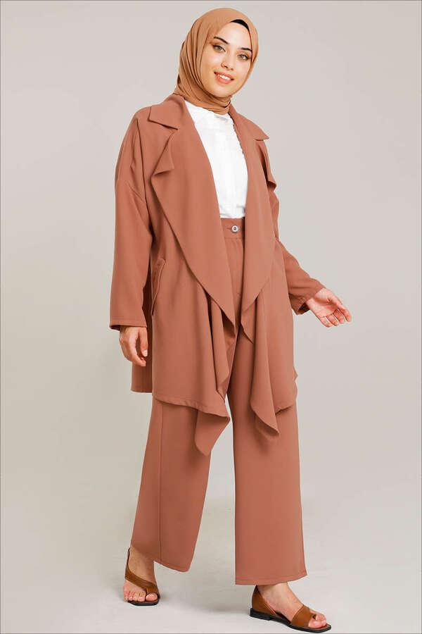 Dökümlü Ceket Takım Şeftali