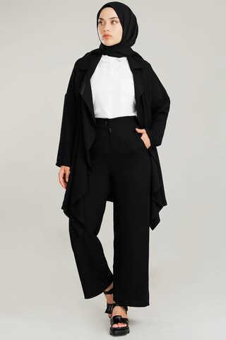 Dökümlü Ceket Takım Siyah - Thumbnail