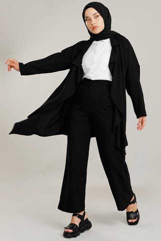 Zulays - Dökümlü Ceket Takım Siyah