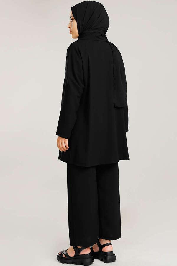 Dökümlü Ceket Takım Siyah