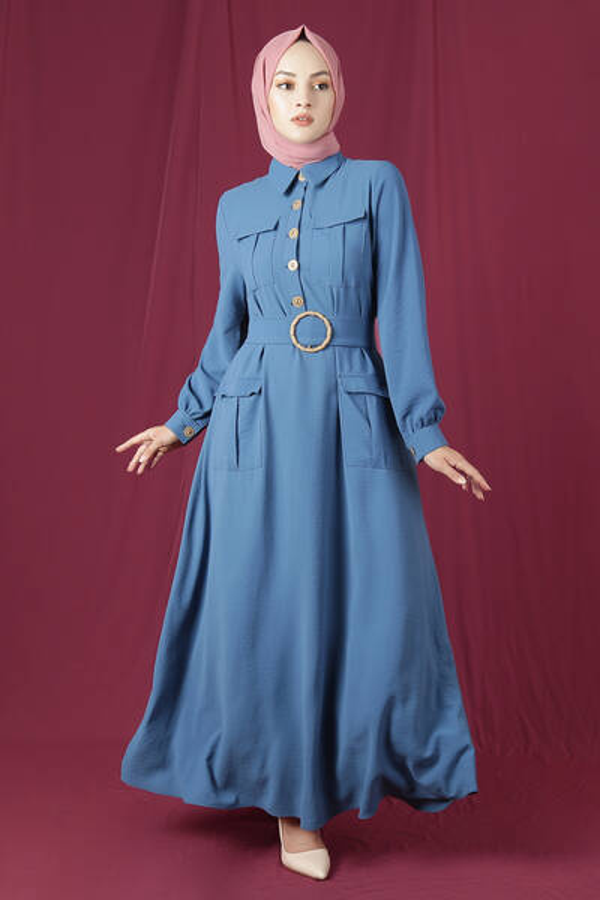 Dört Cepli Uzun Kemerli Elbise İndigo