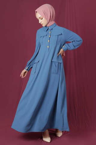 Dört Cepli Uzun Kemerli Elbise İndigo - Thumbnail