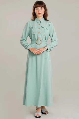 Zulays - Dört Cepli Uzun Kemerli Elbise Su Yeşili