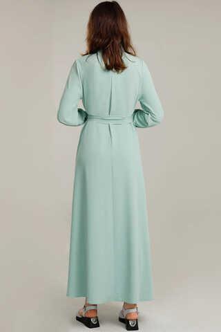 Dört Cepli Uzun Kemerli Elbise Su Yeşili - Thumbnail