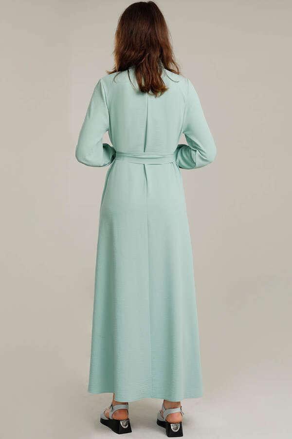 Dört Cepli Uzun Kemerli Elbise Su Yeşili