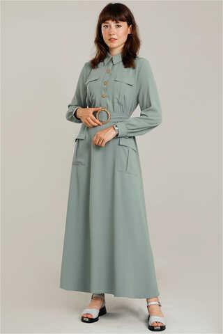 Zulays - Dört Cepli Uzun Kemerli Elbise Mint