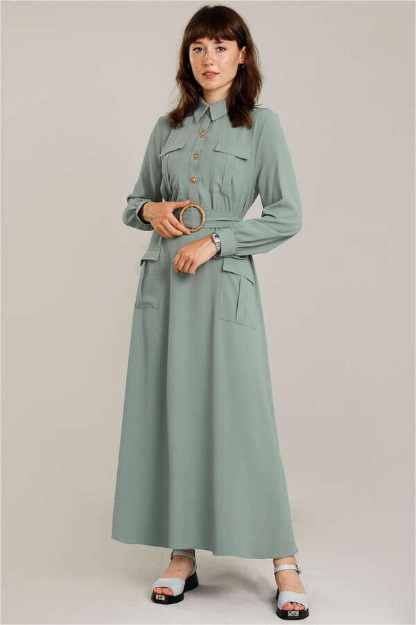 Dört Cepli Uzun Kemerli Elbise Mint