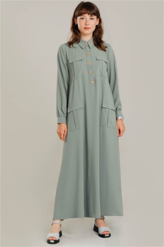 Dört Cepli Uzun Kemerli Elbise Mint - Thumbnail
