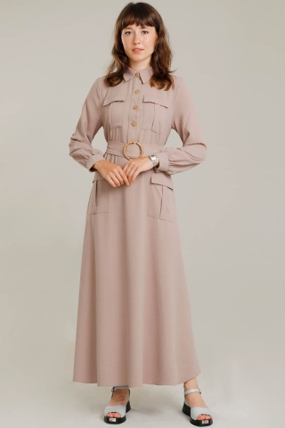 Dört Cepli Uzun Kemerli Elbise Vizon - Thumbnail
