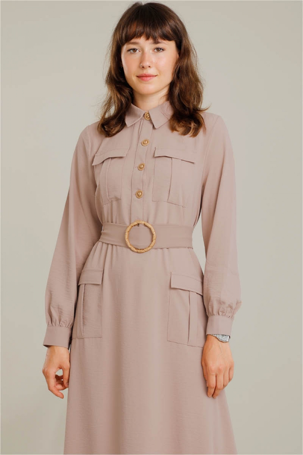 Dört Cepli Uzun Kemerli Elbise Vizon