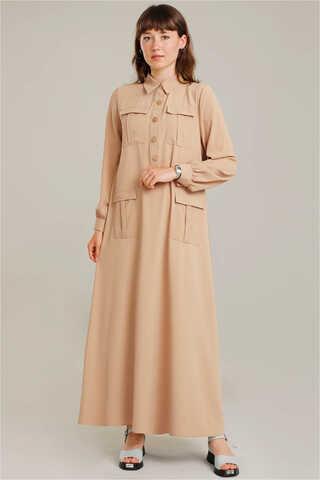 Zulays - Dört Cepli Uzun Kemerli Elbise Camel