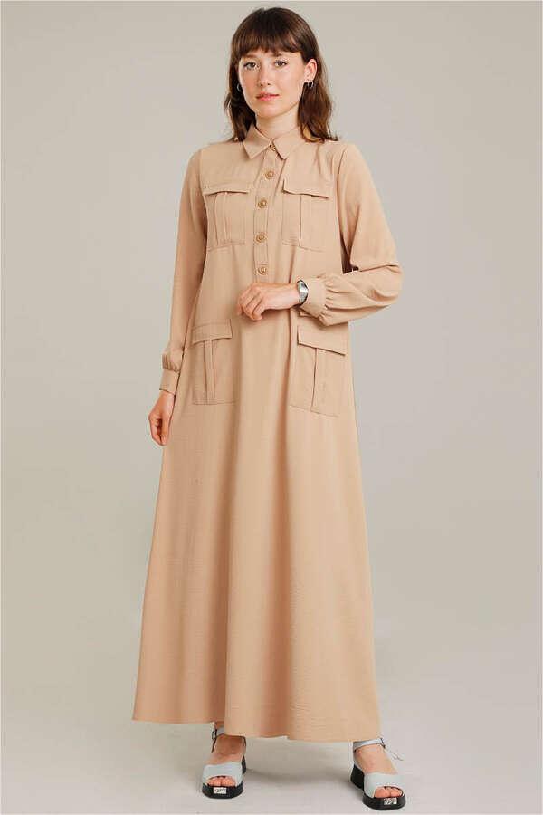 Dört Cepli Uzun Kemerli Elbise Camel