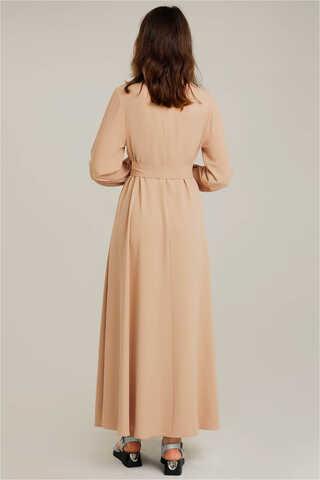 Dört Cepli Uzun Kemerli Elbise Camel - Thumbnail