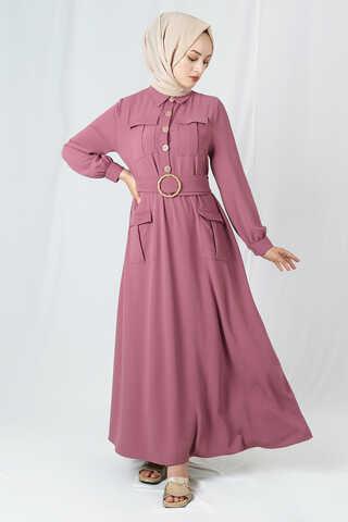 Zulays - Dört Cepli Uzun Kemerli Elbise Gül Kurusu
