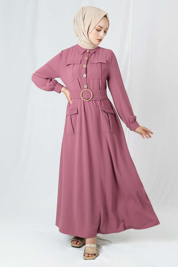 Dört Cepli Uzun Kemerli Elbise Gül Kurusu