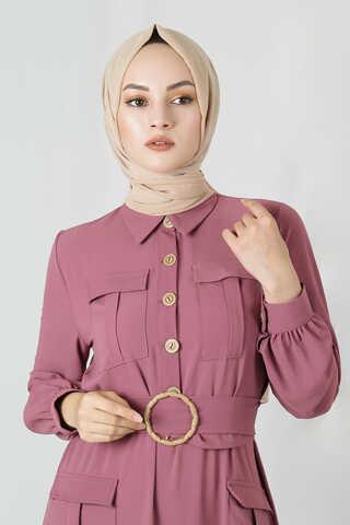Dört Cepli Uzun Kemerli Elbise Gül Kurusu - Thumbnail