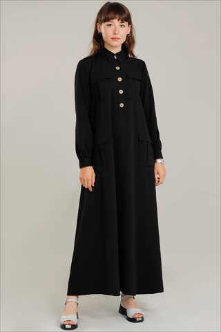 Zulays - Dört Cepli Uzun Kemerli Elbise Siyah