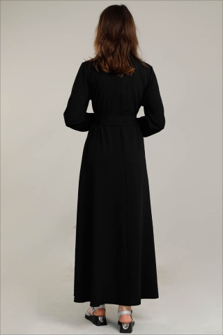 Dört Cepli Uzun Kemerli Elbise Siyah - Thumbnail