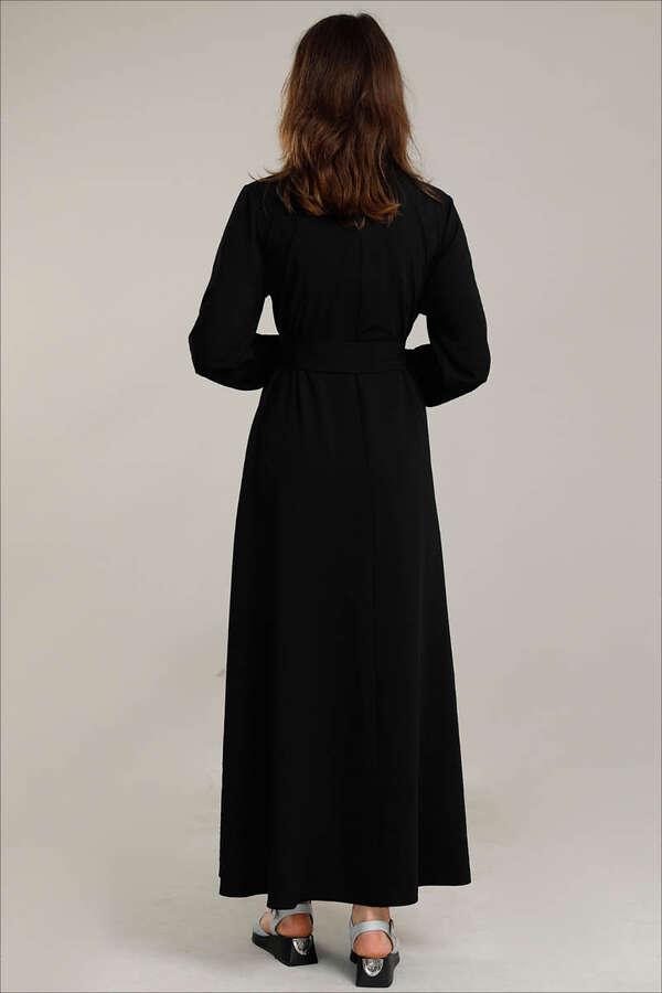 Dört Cepli Uzun Kemerli Elbise Siyah