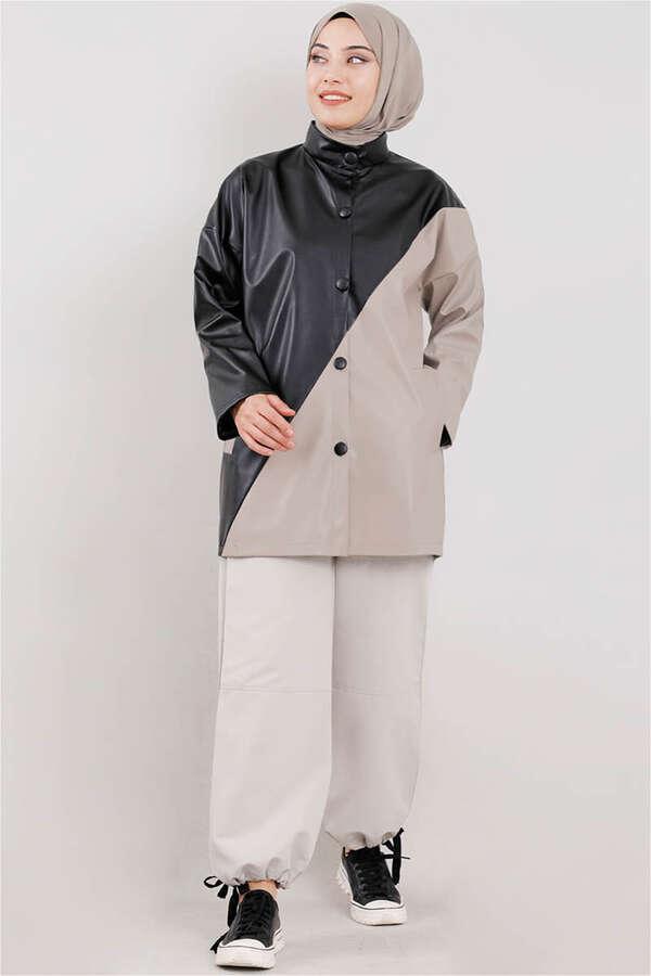 Duo Deri Ceket Çakıl