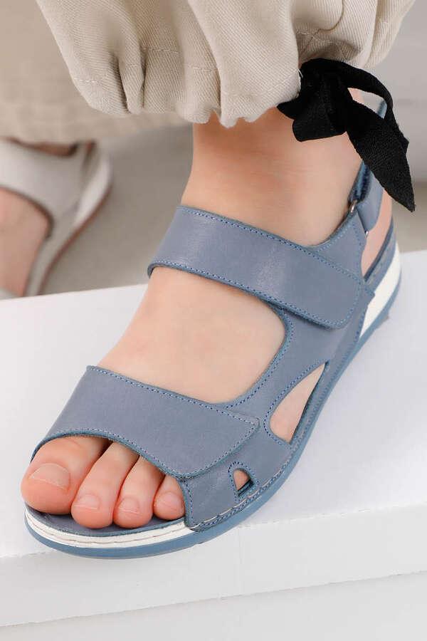 Düz Sandalet Mavi