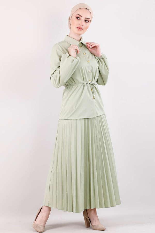2 Yaka Rozz - Elegant Etek Takım Çağla Yeşili