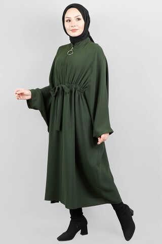 Zulays - Fermuarlı Belden Kuşaklı Koyu Yeşil Tunik