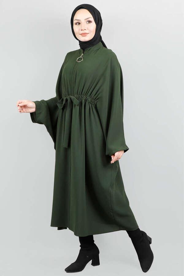 Fermuarlı Belden Kuşaklı Koyu Yeşil Tunik