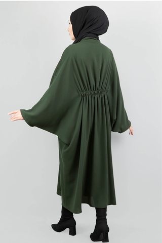 Fermuarlı Belden Kuşaklı Koyu Yeşil Tunik - Thumbnail
