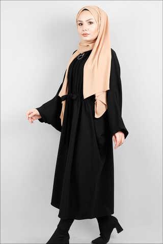 Zulays - Fermuarlı Belden Kuşaklı Siyah Tunik