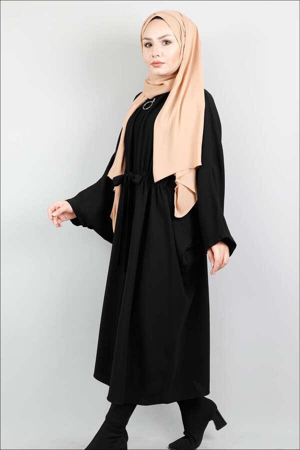Fermuarlı Belden Kuşaklı Siyah Tunik