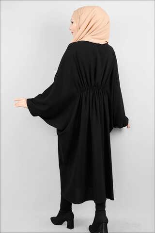 Fermuarlı Belden Kuşaklı Siyah Tunik - Thumbnail