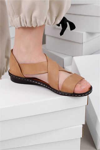 Flat Sandalet Taba - Thumbnail