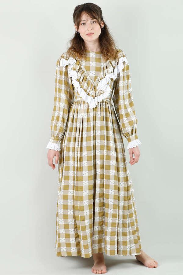 Fransız Model Elbise Hardal