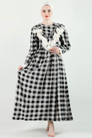 - Fransız Model Elbise Siyah