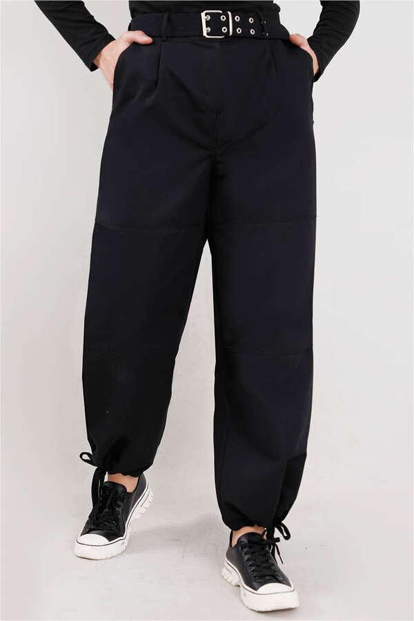 Gabardin Kargo Pantolon Siyah