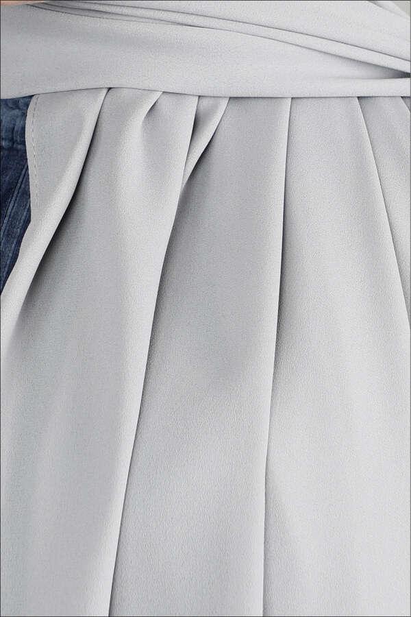 Krep Şifon Şal Gümüş