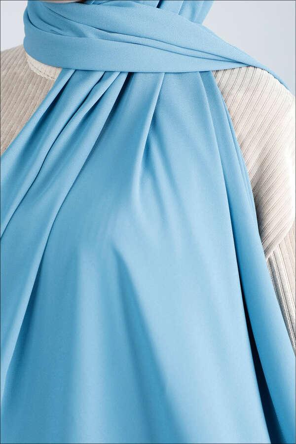 Krep Şifon Şal Mavi
