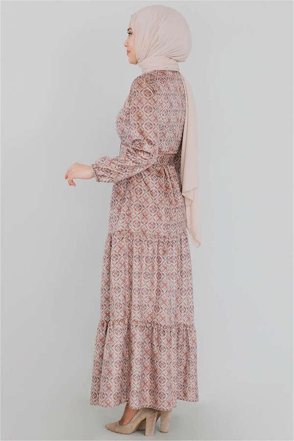 Kadife Desenli Elbise Somon