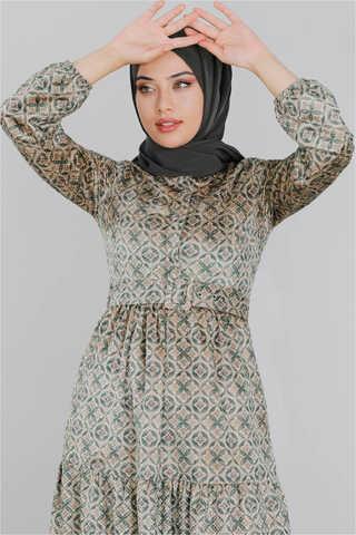 Kadife Desenli Elbise Yeşil - Thumbnail