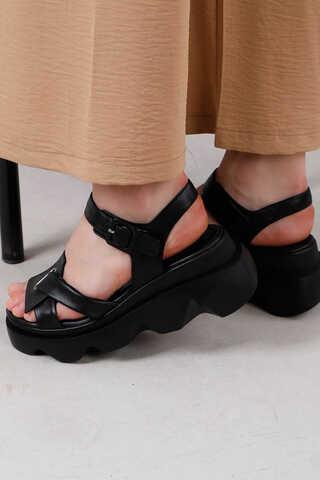 Kalın Manşetli Sandalet Siyah - Thumbnail