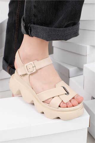- Kalın Manşetli Sandalet Bej