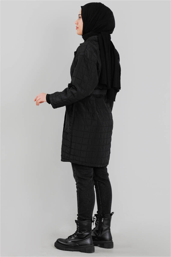 Kapitone Ceket Siyah