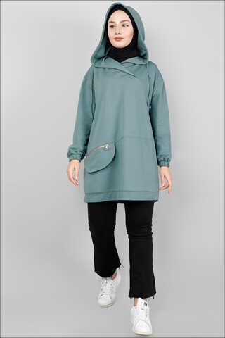 Zulays - Kapüşonlu Cep Detaylı Sweatshirt Mint