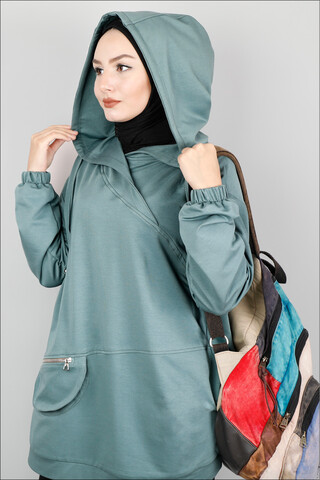 Kapüşonlu Cep Detaylı Sweatshirt Mint - Thumbnail