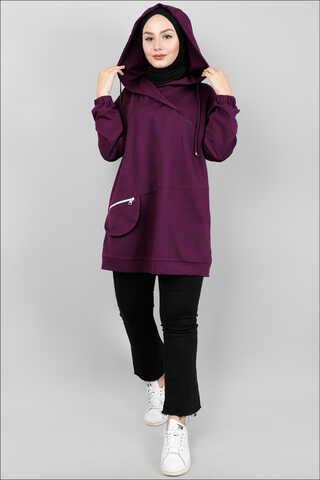 Zulays - Kapüşonlu Cep Detaylı Sweatshirt Mor