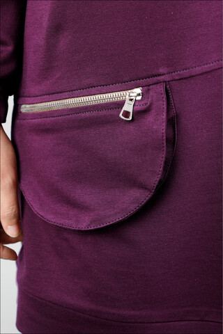 Kapüşonlu Cep Detaylı Sweatshirt Mor - Thumbnail