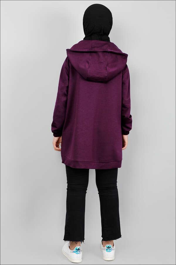 Kapüşonlu Cep Detaylı Sweatshirt Mor